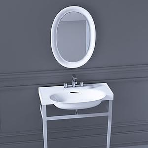 現代衛生間洗手臺模型