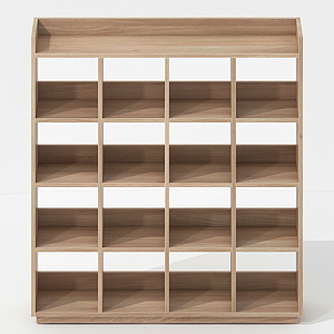 簡歐實木簡約書架儲物柜模型