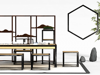 中式書桌椅組合模型