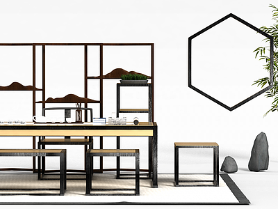 3d中式<font class='myIsRed'>書</font>桌椅組合免費模型