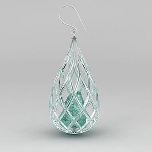 3d水滴形吊墜耳環模型