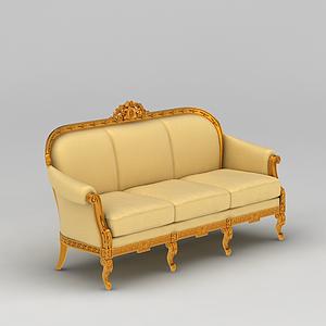 3d黃色三人沙發模型