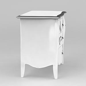白色床頭邊柜模型