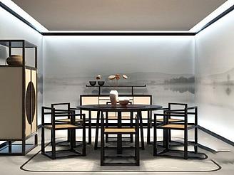 新中式餐桌椅模型