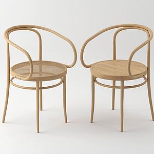 北歐偏中式實木休閑椅模型