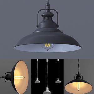 現代休閑金屬質感蓋子吊燈模型