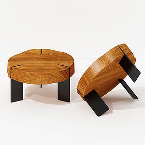 現代實木圓形茶幾咖啡桌模型