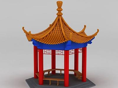 3d六角亭模型