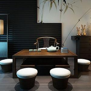 新中式茶室茶幾模型