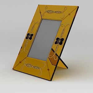 3d黃色玻璃相框模型