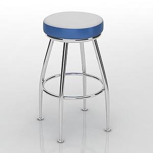 蓝白拼色高脚凳模型