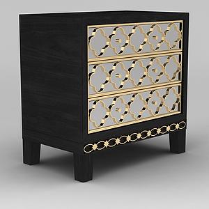 现代实木三斗柜模型