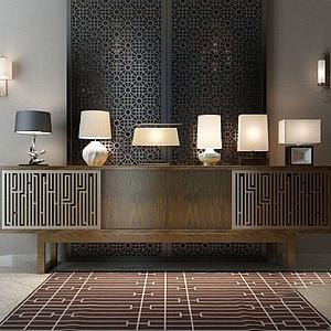 新中式電視柜燈具組合模型