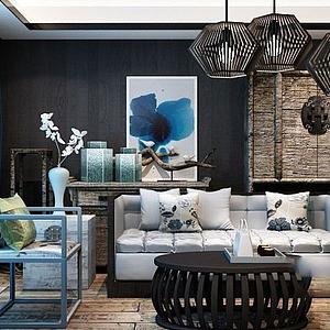 中式沙發椅子茶幾組合模型