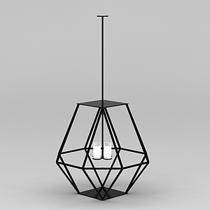 簡約鐵藝吊燈模型