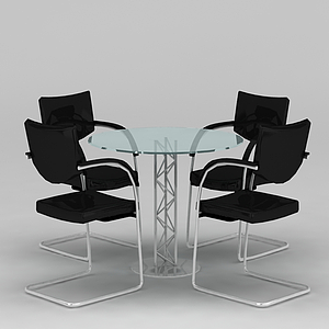 洽談桌椅模型