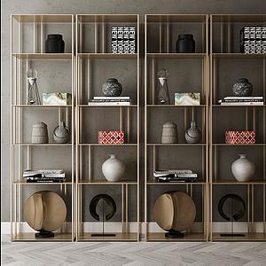 家具飾品組合裝飾架模型