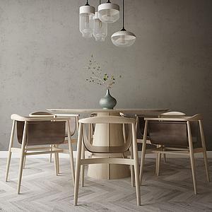 家具飾品組合餐廳模型