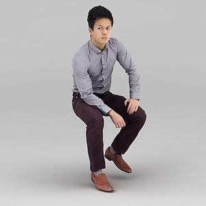 坐著的男人模型