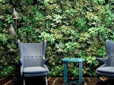 3d植物墻休閑椅組合模型