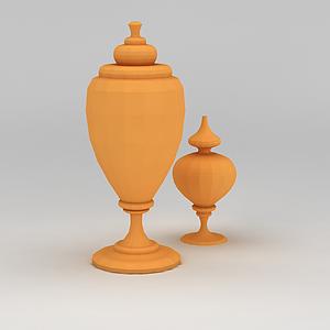 3d黃色裝飾品擺件模型