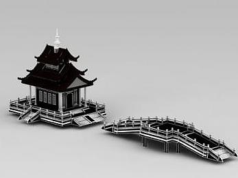 3d寺廟建筑模型