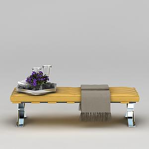 3d黃色軟包長凳模型