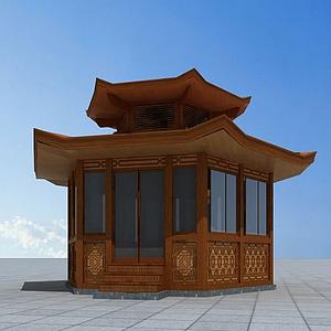3d六角木亭模型
