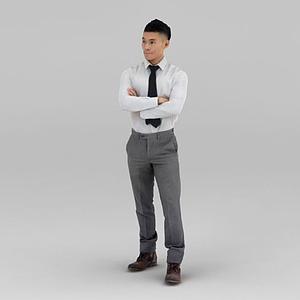 白色襯衣男人模型