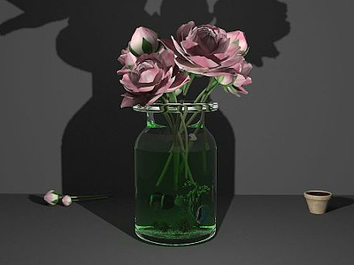 鮮花花瓶3d模型