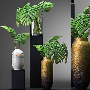 绿植花瓶摆件模型