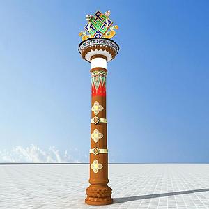 藏式特色路燈模型