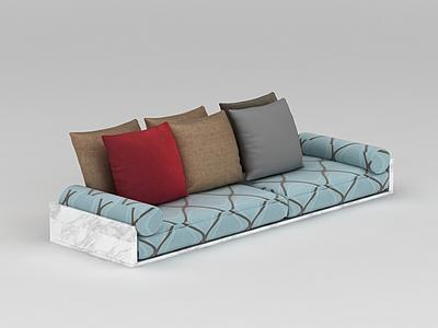 中式沙發榻抱枕組合模型3d模型
