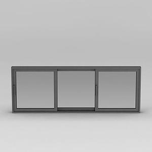 白色推拉式窗戶模型