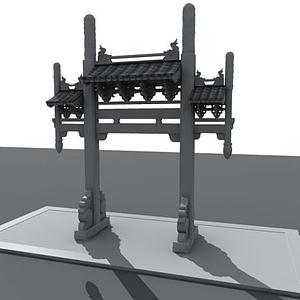 3d中国古代牌坊模型