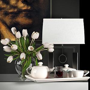 現代茶具花卉陳設飾品組合模型
