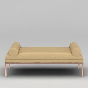 3d黃色簡約沙發榻模型