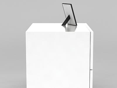 簡約白色邊柜和相框模型3d模型