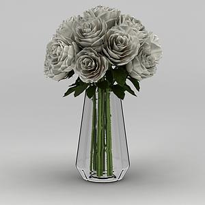 3d玫瑰花束裝飾花瓶模型