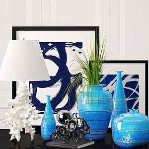 现代台灯花瓶饰品组合模型