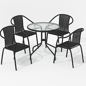 美式休閑室內桌椅戶外模型