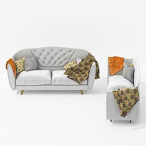 美式休闲室内双人沙发模型