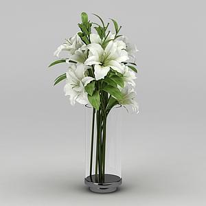 3d百合花卉模型