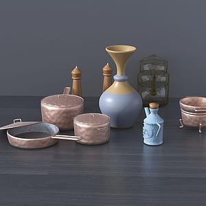 現代廚房桌面擺件模型