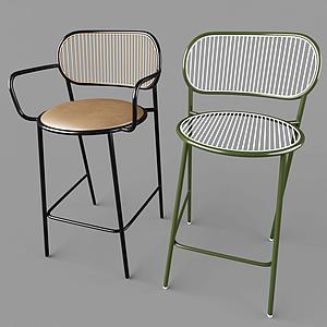現代鐵藝室內椅模型
