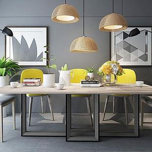 3d后現代餐桌椅<font class='myIsRed'>餐廳掛畫</font>組合模型