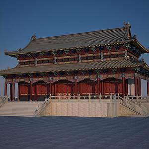 3d古建大殿模型