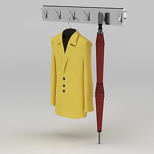 3d黃色毛呢大衣和墻壁衣架模型
