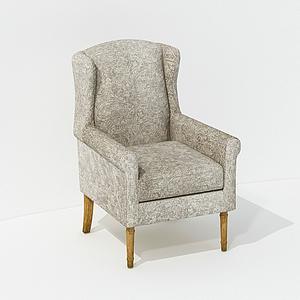 美式休閑扶手單人椅模型