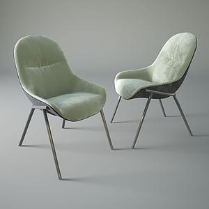 美式休閑絨面單椅模型